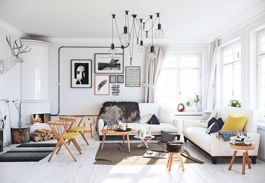 phòng khách Scandinavian