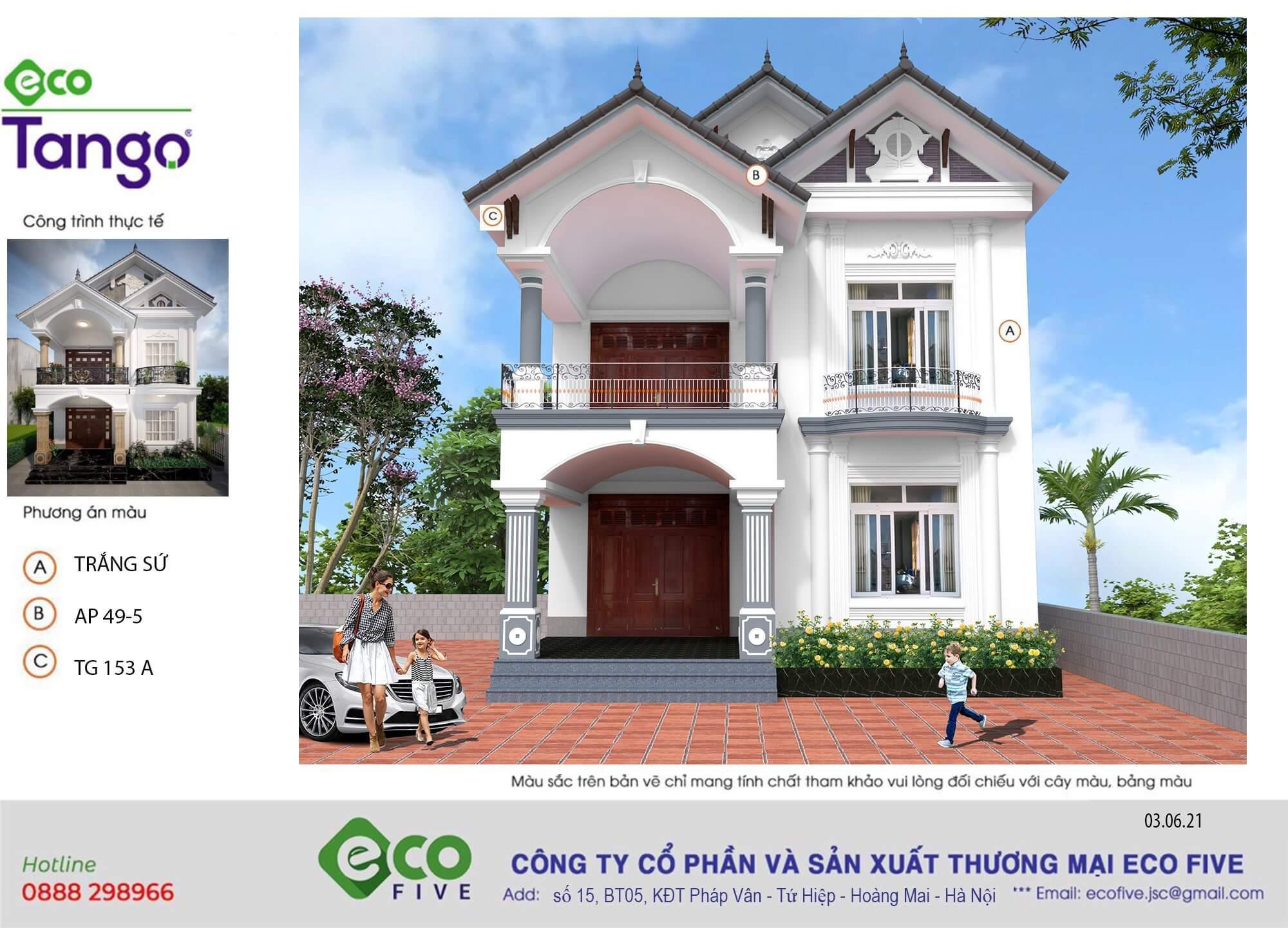 mẫu sơn nhà màu trắng